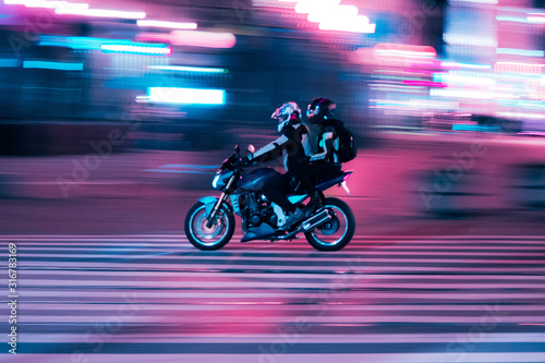 motorcycle on movement Canvas Print