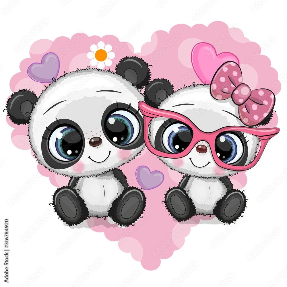 Obraz Cartoon Pandas on a heart background fototapeta, plakat