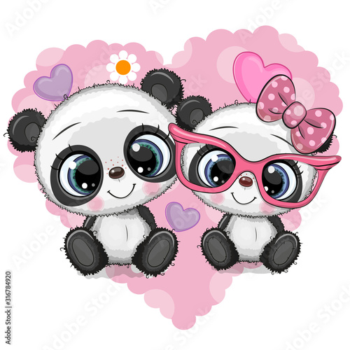 Fototapeta Cartoon Pandas on a heart background obraz