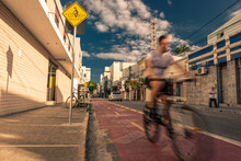 Cyclist Riding A Bicycle On Th...