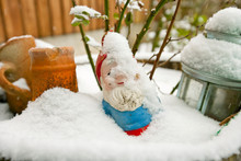 Close-up View Of Garden Gnome Covered In Snow
