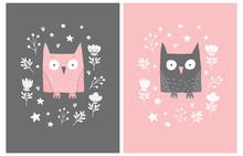Lovely Vector Illustration With Cute Pink And Brown Owl In A White Floral Frame Isolated On A Pink And Brown Background. Funny Nursery Art For Card, Invitation, Wall Art, Greeting, Poster.
