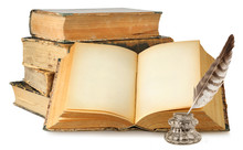 Isolated Old Books. Open Book With Empty Pages, Stack Of Old Books And Inkwell Isolated On White Background With Clipping Path