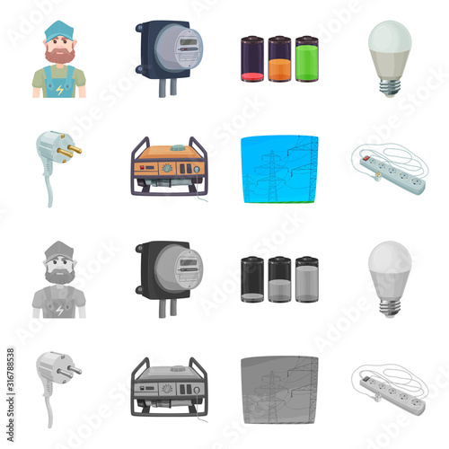 Fotografie, Obraz Isolated object of electricity and electric sign