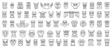 Native Totem Vector Line Set I...