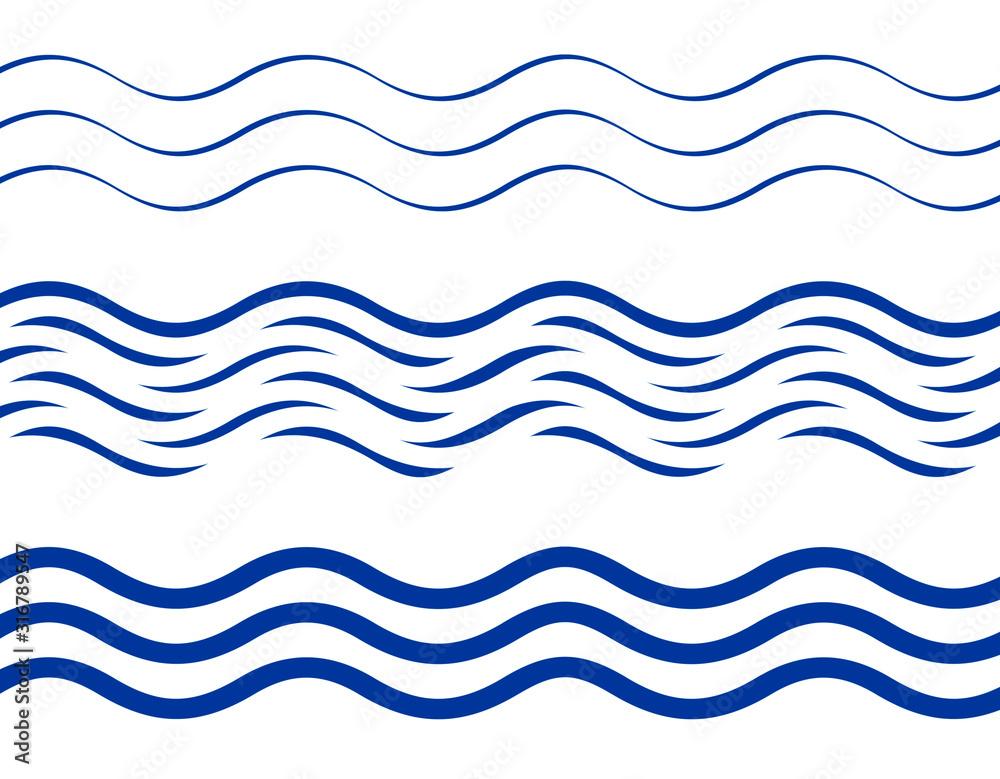 Fototapeta Set of waves patterns, flat style