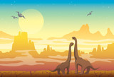 Fototapeta Dinusie - Prehistoric nature - diplodocus, mountains and pterodactyls.