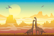 Prehistoric Nature - Diplodocus, Mountains And Pterodactyls.