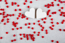 Two White Hearts Among Red Cin...