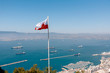 Panoramic view on the Gibraltar harbor at sunny summer weather