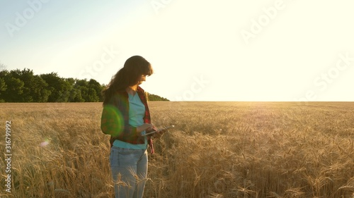 Women agronomist with a tablet studies wheat crop in field Wallpaper Mural