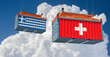 Freight container with Switzerland and Greece flag. 3D Rendering