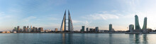 Bahrain Skyline With Iconic Buildings During Sunset