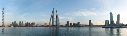 Bahrain skyline with iconic buildings during sunset Canvas Print