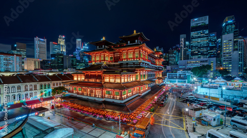 Fototapety, obrazy: Bird view of Buddha Tooth Relic Temple & Museum at night