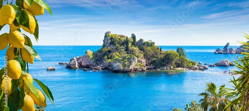Fototapeta Isola Bella, small island near Taormina, Sicily, Italy obraz
