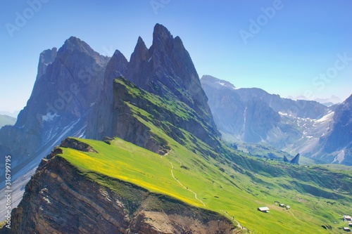 Majestic mountain scenery within spring time - blooming mountain slopes Seceda, Tablou Canvas