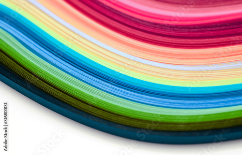 Fotografie, Obraz Horizontal Abstract color wave rainbow strip paper background.