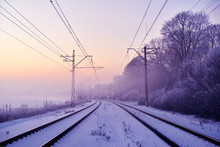 Winter Railway Landscape In Th...