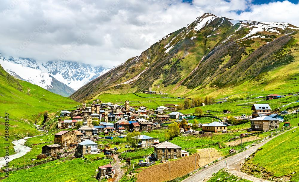 Fototapeta Ushguli village with Svan towers - Upper Svaneti, Georgia