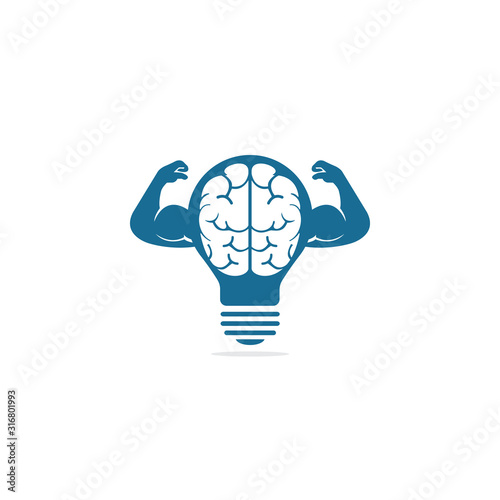 Obraz Brain with big muscles and bulb shape vector logo design. Brain, intellect power. Willpower concept. high IQ concept. Brain with strong double biceps. Vector illustration. - fototapety do salonu
