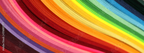 Fototapeta Horizontal Abstract vibrant color wave rainbow strip paper background. obraz