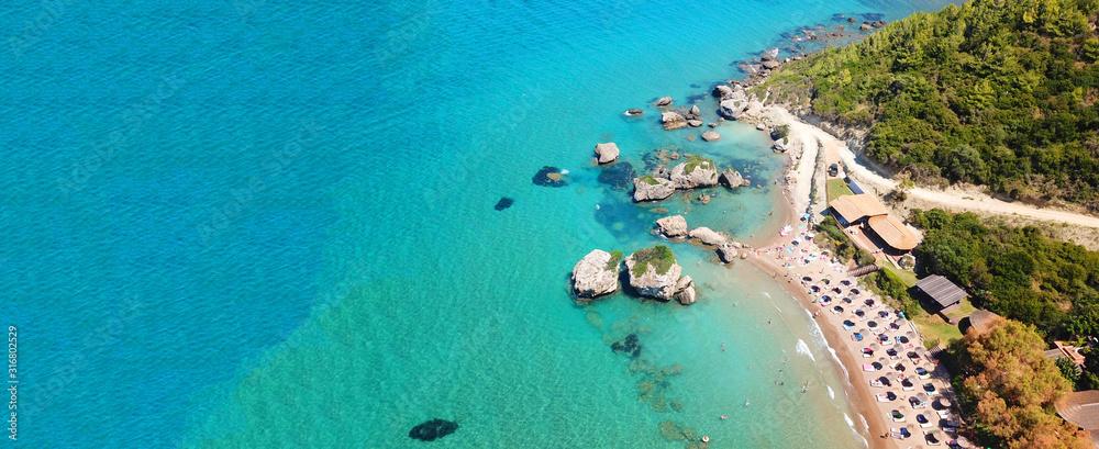Fototapeta Aerial drone ultra wide photo of famous sandy beach of Porto Zoro in island of Zakynthos, Ionian, Greece