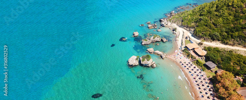 Fotomural Aerial drone ultra wide photo of famous sandy beach of Porto Zoro in island of Z