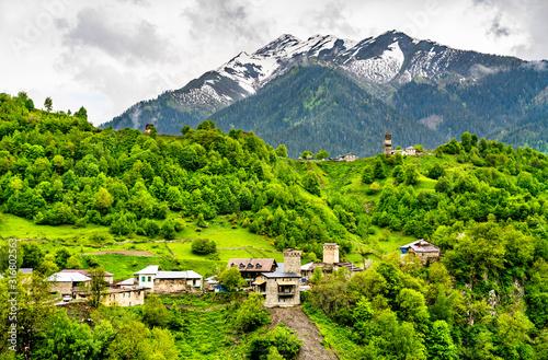 Fototapeta Nakipari village in Upper Svaneti, Georgia obraz
