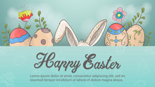 Easter Holiday Banner Greetings Rabbit Ears Painted Eggs Flowers In The Style Of Childrens Doodle