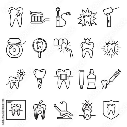 Fotografia Stomatology icon set in thin line style