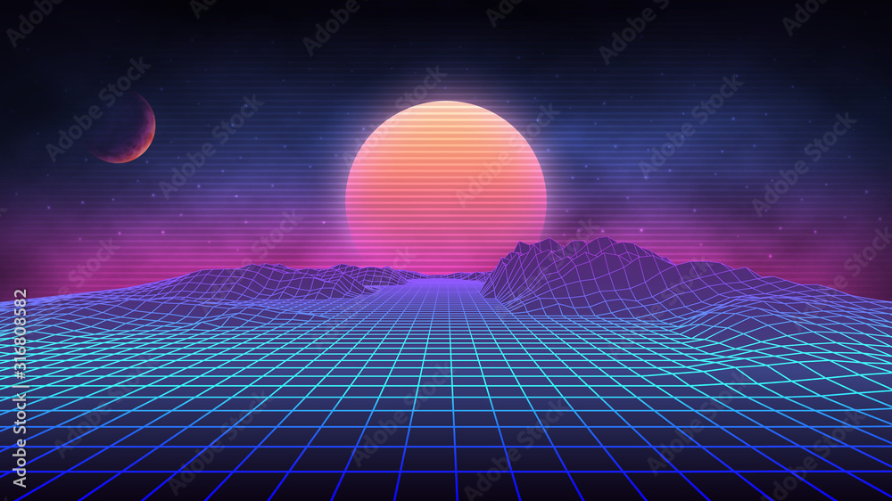 Fototapeta Futuristic retro landscape of the 80`s. Vector futuristic illustration of sun with mountains in retro style. Digital Retro Cyber Surface. Suitable for design in the style of the 1980`s.