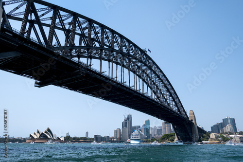 View under the Sydney Harbour Bridge to the Sydney Opera House