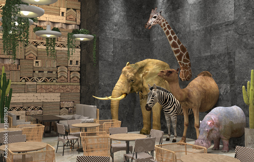 stuffed-wild-african-animals-elephant-giraffe-zebra-camel-hippopotamus-in-the-interior-of-the-restaurant-or-cafe-creative-interior-design-with-african-style-decoration-3d-rendering