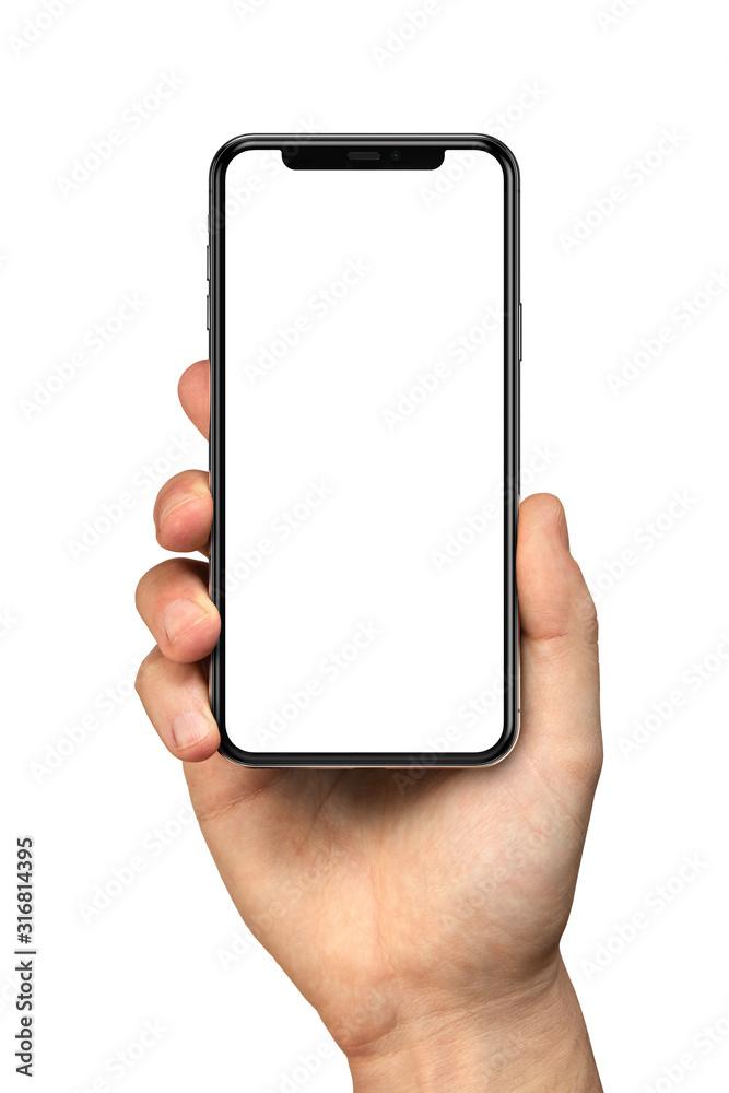 Fototapeta Man hand holding the black smartphone with blank screen and modern frameless design - isolated on white background
