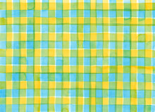 Light Blue And Yellow Check Pattern Painted By Watercolor