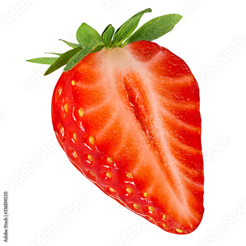 Fotomural Fresh strawberry half isolated on white background with clipping path