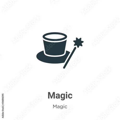 Magic glyph icon vector on white background. Flat vector magic icon symbol sign from modern magic collection for mobile concept and web apps design. Wall mural