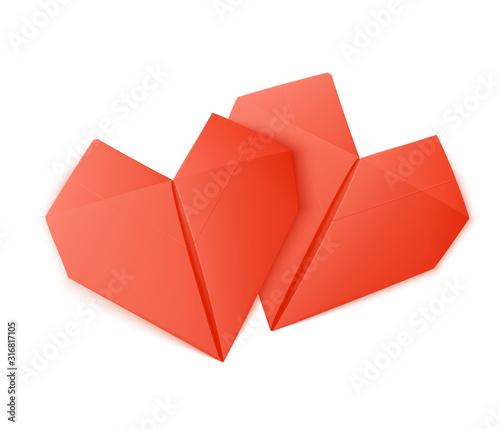 Canvastavla Origami Heart Shapes