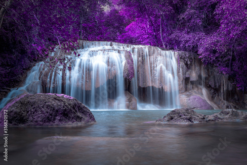 Obraz purple waterfall magic colorful, picture painted like a fairytale world - fototapety do salonu