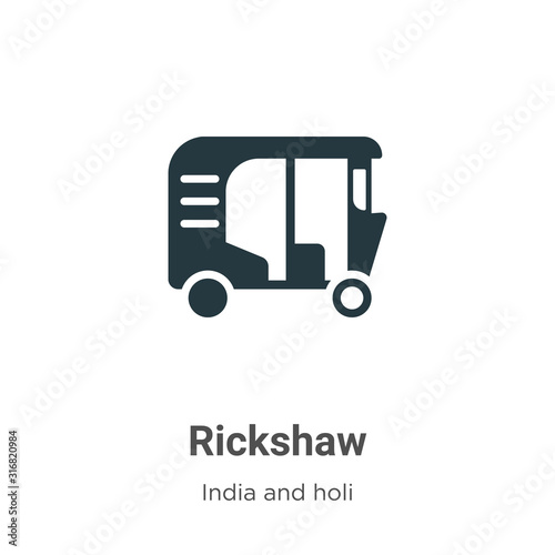 Vászonkép  Rickshaw glyph icon vector on white background
