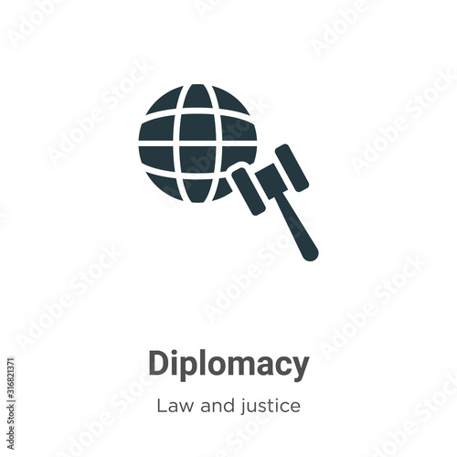 Fotomural Diplomacy glyph icon vector on white background