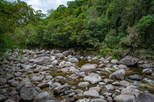 Mossman River And Lookout In Rural Rainforest At Mossman Gorge National Park Daintree Region Queensland Australia.