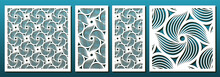 Laser Cut Pamels Template, Vector Set. Abstract Geometric Pattern. Stencils, Die For Metal Cutting, Paper Art, Fretwork, Wood Carving, Card Background, Wall Panel Design.
