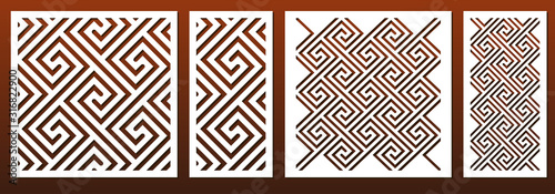 Fototapeta Laser cut template set, abstract geometric pattern in celtic traditional style. Panel decor, metal cutting, wood carving, paper art, fretwork stencil design. Vector illustration obraz