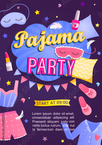 Fototapeta Pajama party's invitation card. Night time for kids and parents, nightwear, pillows, fun. Poster or flyer for happy event. Birthday celebration for children in pyjamas.Vector illustration. obraz