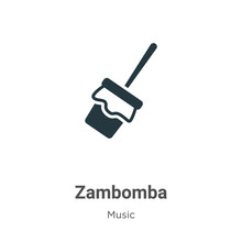 Zambomba Glyph Icon Vector On White Background. Flat Vector Zambomba Icon Symbol Sign From Modern Music And Multimedia Collection For Mobile Concept And Web Apps Design.
