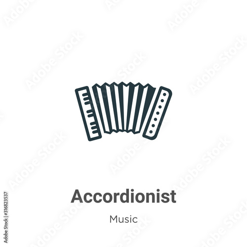 Accordionist glyph icon vector on white background Canvas Print