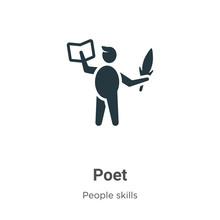 Poet Glyph Icon Vector On Whit...