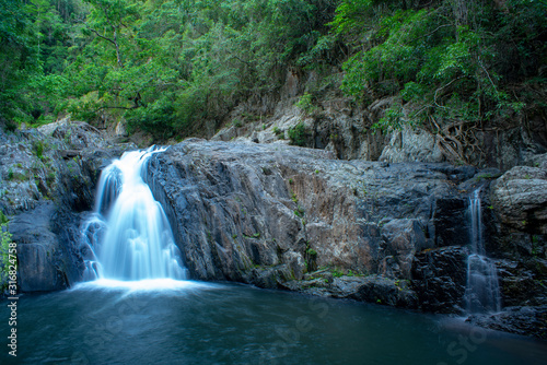Canvas Print Crystal Cascades Waterfall in Redlynch Valley Barron Gorge National Park west of Cairns part of The Tropical North Queensland Australia